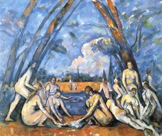 The Bathers by Paul Cezanne (1888-1905) Going back to the roots of impressionism. he tips the painting and uses bold colours.