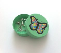 Wooden Jewelry Box Butterfly  Mint Green  Hand by Daisyxjewels
