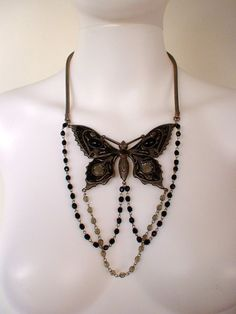 Designer VTG  Jean Paul Gaultier Butterfly Stone And Silver Women's necklace. Available at: stores.shop.ebay.com.au/aceyacey