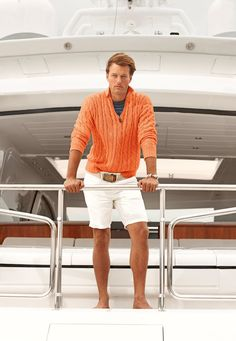 Pastel sweater and white shorts is new men's prep!