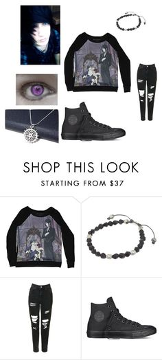 """""""Black Butler"""" by alexemoforever on Polyvore featuring M. Cohen, Topshop, Converse, men's fashion and menswear"""