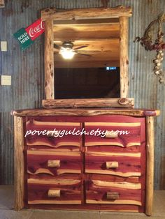 Eastern Red Cedar 6 Drawer Dresser With Wall Mounted Mirror By PovertyGulch  On Etsy