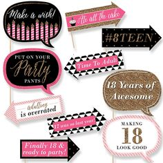 Funny Chic 18th Birthday - Pink, Black and Gold - 10 Piece Photo Birthday Party Booth Props Kit | BigDotOfHappiness.com