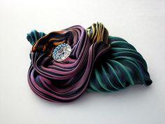 ~Beautiful silk shibori arashi flower made by  Darlene Nadeau using a kit from Shibori Girl