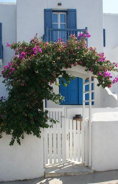 Greek Isles house w blue door and shutters ~ Santorini House, Garden Gates And Fencing, Greek Decor, Greek Blue, Greek Isles, Greece Islands, Exterior Paint, My Dream Home, House Design