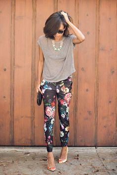 Adore this outfit for work OR play: slouchy sweater, floral pants, printed heels and a statement necklace.