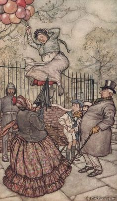 "Arthur Rackham: Peter Pan in Kensington Gardens ""The Lady with the Balloons..."""