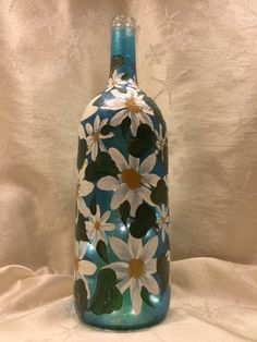 Hand Painted Lighted Wine Bottle  White Daisies  by EverMyHart - Still in time for Christmas delivery! $35.00 includes shipping!!!