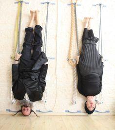Chasidic iyengar yoga practicing husband + wife team.