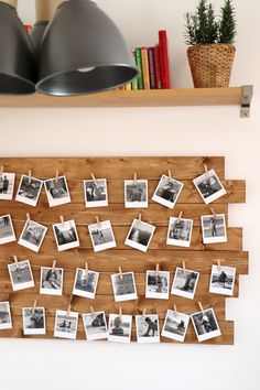 DIY: Fotowand bauen DIY photo wall build as a kitchen decoration, hallway decoration or living room Diy Wand, Diy Photo, Polaroid Foto, Diy Polaroid, Polaroid Decoration, Diy Home Decor For Apartments, Photo On Wood, Hallway Decorating, Living Room Decor