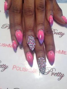 #ombre #nails #stilettonails #pinknails #pink #swarovski