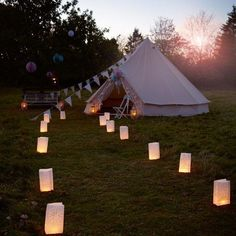 Ah, the art of glamping. Combining chic ideas with the outdoors, glamping is a way to have fun and be comfortable. Not quite camping yet not quite a s. Candle Bags, Candle Lanterns, Candles, Paper Lanterns, Wedding Lanterns, Wedding Lighting, Wedding Decorations, Christmas Decorations, Tenda Camping