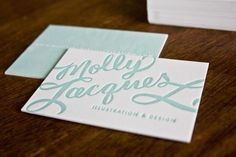 COMPLETELY GORGEOUS - and I love the aqua blue color. Molly-Jacques-Calligraphy-Letterpress-Business-Cards2
