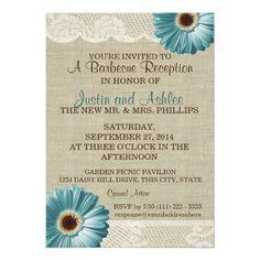 Teal Daisy and Burlap BBQ Wedding Reception Card