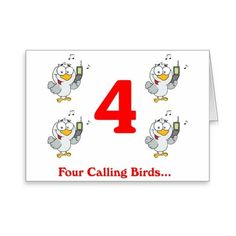On the 4th Day of Christmas four calling Birds Greeting Card (£2.48) ❤ liked on Polyvore featuring home, home decor, stationery, bird, christmas song, holiday and text