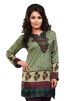 Indian Tunic Top Womens / Kurti Printed Blouse tops - AZDKJD-EX02A Arras Creations http://www.amazon.com/dp/B00RR5ZG5K/ref=cm_sw_r_pi_dp_4KJ9ub1NM0EZS
