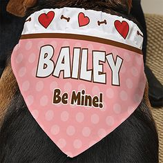 Be My Valentine Personalized Dog Bandana - #13458