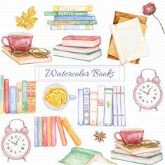 Watercolor Books, Watercolor Flowers, Tumbler Stickers, Book Clip Art, Fallen Book, Craft Business, Back To School, Literature, Handmade Items