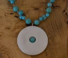 White Donut Pendant Necklace with Green/Blue Turquoise beads | PegasusJewellery - Jewelry on ArtFire