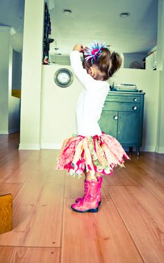 tutu made from scrap material... And that skirt with those boots? So cute!!  @Amber Guernsey @Donna Burton
