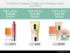 The active Clinique Coupons. http://clinique-bonus.com/clinique-coupons/ Choose from 3 codes + get free shipping with any order.