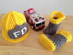 Baby Firefighter Fireman Hat & Boots, Photography Prop -  MADE TO ORDER via Etsy