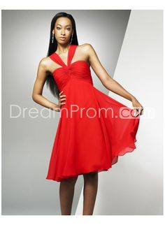 Glamorous Chiffon A-line Halter Sleeveless Knee-length Red Cocktail Dresses CK-0045