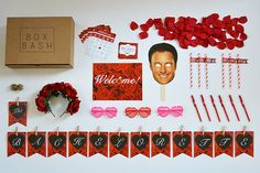 NOW ON SALE - The Bachelorette Box: a box sent directly to you filled with everything you need for your May 18th premiere party! Curated and sold exclusively through The Box Bash.  #bachelorette #partydesign #DIY