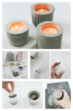 Let's play with cement! DIY candle holders made of cement that you can make at home.(online pictures) These concrete tea light candle holders demonstrate a simple DIY alternative to concrete stencilling in the form of functional home décor. Cement Art, Concrete Crafts, Concrete Projects, Concrete Art, Concrete Design, Concrete Stool, Do It Yourself Projects, Diy Projects To Try, Craft Projects