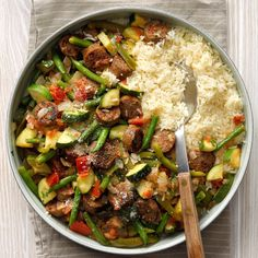 Take a spin on this classic household staple. Let these globally-inspired white rice dishes switch up your weekly menu.You'll feel like Ratatouille's great chef Remy when you serve this veggie-packed … White Rice Dishes, White Rice Recipes, Batch Cooking, Easy Cooking, Cooking Recipes, Sausage Recipes, Easy Recipes, Sausage Meals, Skillet Recipes