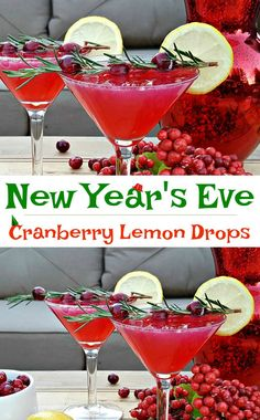New Year's Drink Recipe – Cranberry Lemon Drops New Year's Eve Drink Recipe! A cranberry lemon drop cocktail you'll want to serve your New Year's Eve guests - a little cheers to go around! Learn how to make this cocktail now! New Years Eve Drinks, New Year's Drinks, New Year's Eve Cocktails, New Years Eve Food, Cocktail Drinks, Fun Drinks, Yummy Drinks, Healthy Drinks, Cocktail Recipes