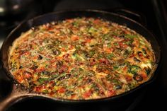 Bacon, Red Pepper, Spinach and Black Olive Frittata