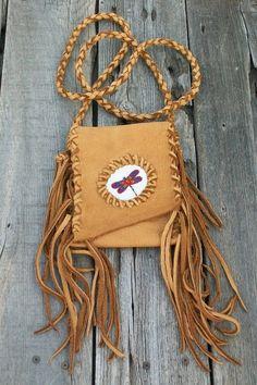 Beaded festival bag Leather cell phone bag Fringed by thunderrose