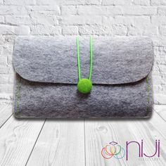 Felt Clutch Bag, Hand Bag, Grey & Green