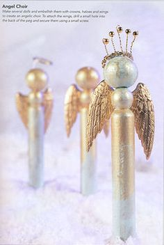 Clothespin angels. LOVE these and I have inherited 133 wooden clothes pins for Bazaar ornaments.