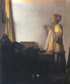 ■ 真珠の首飾りの女 (Vrouw met parel ketting)1662-65年頃 55×45cm | 油彩・画布 | ベルリン国立美術館
