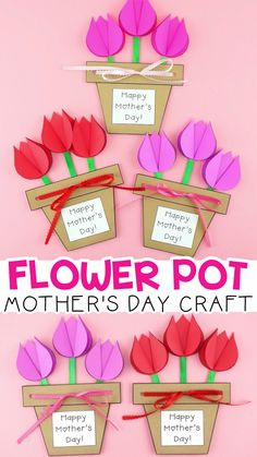 Mother's Day Flower Pot Craft -Easy gift for kids to make for Mom! Mom and grandma will love this Mother's Day flower pot craft as a simple Mother's Day gift. Easy flower craft for kids to make for Mothers Day. #iheartcraftythings