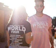 Drink Around the World Tour Tee Pink – Lost Bro.'s Trading Co