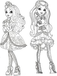 ever after high raven queen coloring pages | Apple White and Raven Queen Free Coloring Page