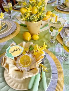 Dining Delight: Mother's Day Lemon Themed Tablescape day dinner set up Yellow Dinner Plates, Yellow Bowls, Mothers Day Dinner, Happy Mothers Day, Dinner Themes, Dinner Sets, Mother's Day Theme, Tea Party Decorations, Spring Decorations
