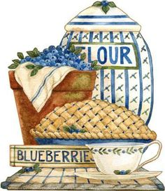 Blueberry kitchen fixin's -- by Diane Knott Tole Painting, Painting On Wood, Kitchen Clipart, Recipe Scrapbook, Pintura Country, Country Art, Vintage Country, Country Style, Country Paintings