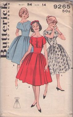 MOMSPatterns Vintage Sewing Patterns - Butterick 9265 Vintage 60's Sewing Pattern GORGEOUS Rockabilly Cocktail Party Dress, Surplice, Curved or Button Bodice, WIDE Waist Cinched Midriff & Pleated Full Skirt