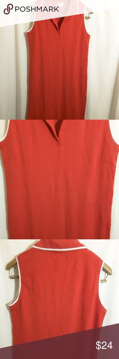 POSH women's shirt dress Pre-owned POSH 100% Cotton Red White Dress size M Pre-owned very comfortable and cute POSH Dresses Maxi