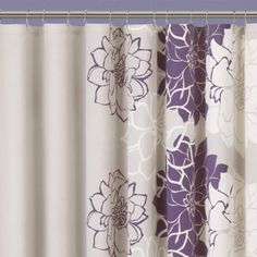 """<p>This single-panel shower curtain presents a modern floral design to brighten any bathroom.</p><div style=""""page-break-after: always"""