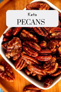 These Keto Candied Pecans are the perfect blend of sweet and spicy!  They are sugar free and make the perfect easy snack.  #ketopecans #lowcarbsnack #pecans #lowcarb #sugarfree