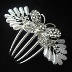 White Crystal Pearl Hair pins. Bride Hair jewelry. Girls Hair Accessories. Fashion woman party Hair combs Butterfly $6.20
