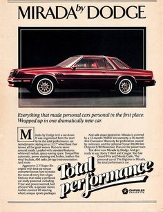 1980 Dodge Mirada Ad (Canada) by aldenjewell, via Flickr
