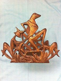 Fancy Art Nouveau Frog With Top Hat Book Ends/fish Tank Stand