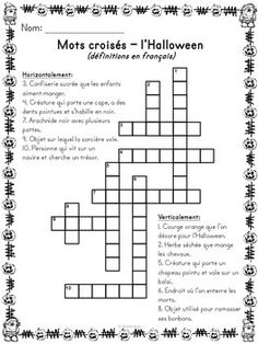 L'Halloween - Mots croisés, cachés, fléchés - French Halloween Halloween Riddles, Halloween Vocabulary, Halloween Worksheets, Theme Halloween, Halloween Activities, Holidays Halloween, Halloween 2019, French Flashcards, French Worksheets