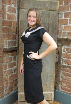 Vintage 1960s Dress/ Wiggle Dress / Sailor Collar Dress/  Black White Striped Bow Bodice 583 Body Con XS on Etsy, $119.00